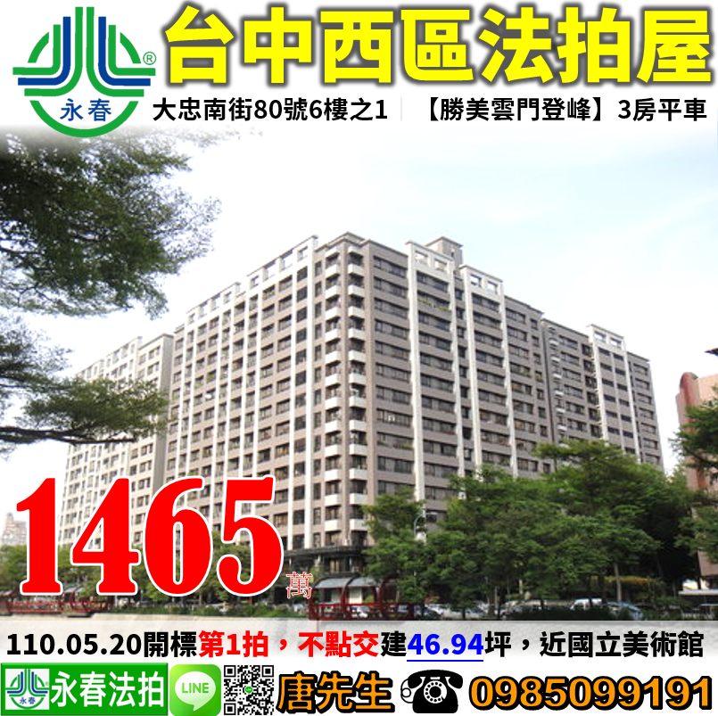 台中市西區大忠南街80號6樓之1 0985099191